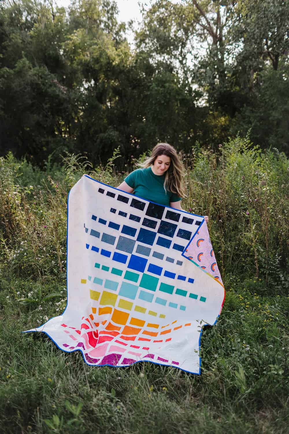 Rainbow Quilt Full Shot With Pop of Rainbow Back - Aftershock Quilt from Wren Collective