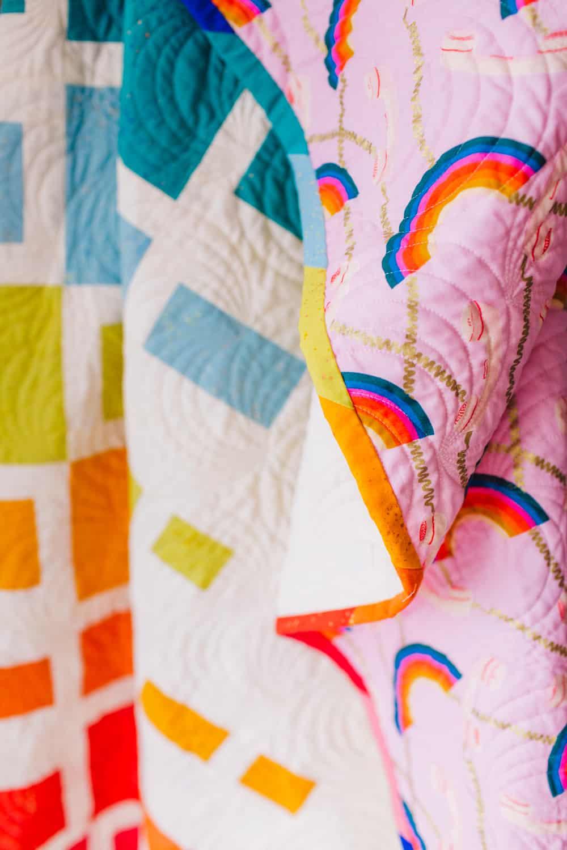 Rainbow Quilt Detail Shot - Aftershock Quilt from Wren Collective